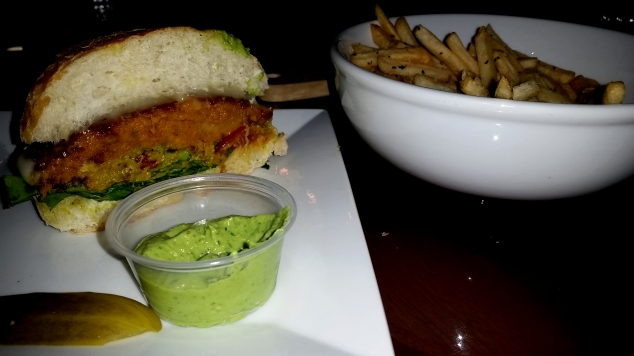 Vegan Burger, tomatillo habanero sauce and original fries.